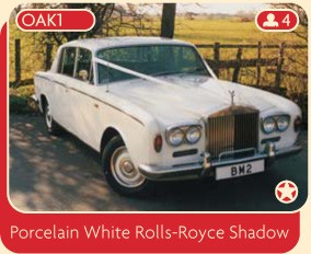 Porcelain white Rolls-Royce Shadow wedding car available for hire from Broadoak Wedding Cars, Manchester.