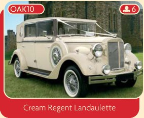 Vintage wedding car, cream Regent Landaulette.