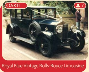 Royal blue vintage Rolls Royce Limousine wedding car, Manchester.