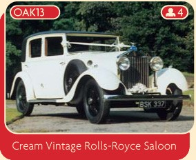 Rolls Royce wedding car hire, a beautiful cream vintage Rolls-Royce Saloon from Broadoak, Manchester.
