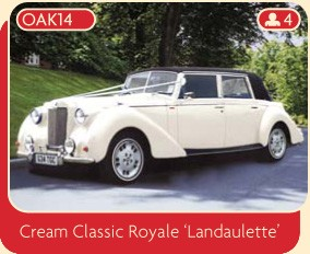 Cream Classic Royale Landaulette luxury wedding car.