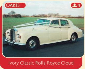 Rolls Royce wedding car for hire from Broadoak, Manchester.  Hire this stunning ivory classic Rolls-Royce Cloud.