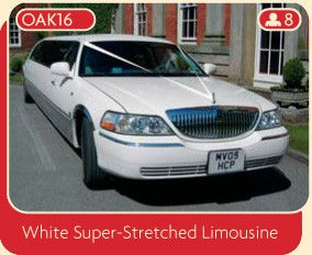 Wedding limo for hire from Broadoak. Rent this white super-stretched limousine.