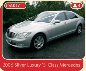 "Mercedes wedding cars: hire this 2006 silvery luxury ""S"" Class Mercedes."