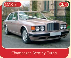 Bentley wedding care hire: why not hire this champagne Bentley Turbo for your special day.