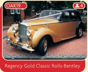 Hire this regency gold Classic Rolls-Bentley for your wedding day.