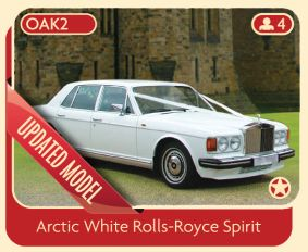 Arctic White Rolls-Royce Spirit Wedding Car.
