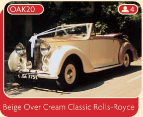 This beige over cream Classic Rolls-Royce is available for hire for your wedding day.