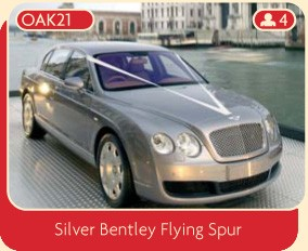 This silver Bentley Flying Spur makes the perfect wedding car.