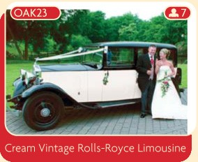 Cream Vintage Rolls-Royce Limousine, the perfect wedding car.
