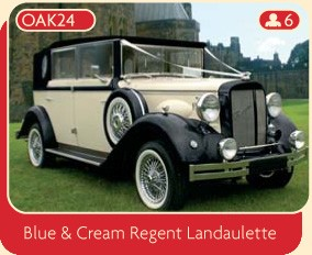 Blue and cream Regent Landaulette wedding hire car.