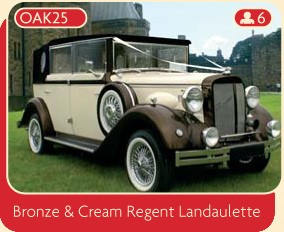 Bronze and cream Regent Landaulette wedding car.