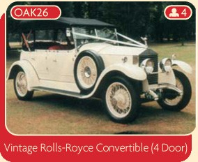 Vintage Rolls-Royce Convertible (4 door) wedding car.