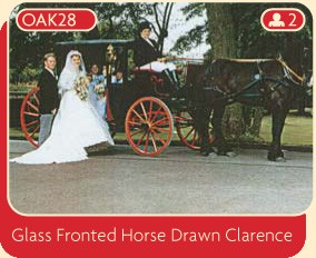 Glass fronted horse drawn carriage to hire on your wedding day.