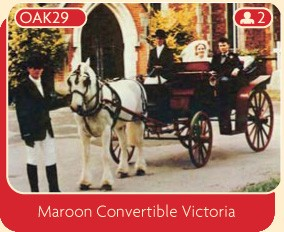 Maroon convertible Victoria horse and carriage for wedding hire.