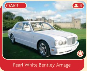 Bentley wedding car hire, a pearl white Bentley Arnage.