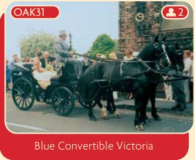 Blue convertible Victoria horse drawn carriage for wedding hire.