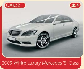 "A 2009 white luxury Mercedes ""S"" Class wedding car for hire in Manchester and surrounding areas from Broadoak."