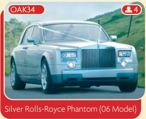Silver Rolls Royce Phantom (06 Model) for wedding hire.