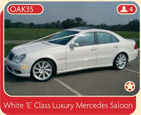 "White ""E"" Class Luxury Mercedes Saloon wedding car for rental."