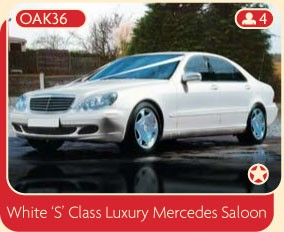 "Hire this white ""S"" Class Luxury Mercedes Saloon for your wedding."