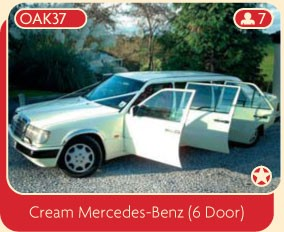 Cream Mercedes-Benz (6 Door) wedding limo.