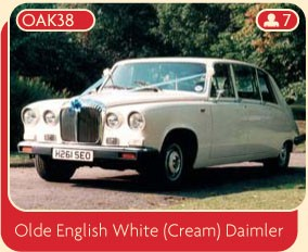 Olde English White (Cream) Daimler wedding car.
