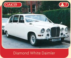 Diamond white Daimler wedding car for rental in Manchester and North Cheshire.