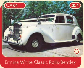 Ermine white Classic Rolls-Bentley available for wedding car rental from Broadoak of Manchester.