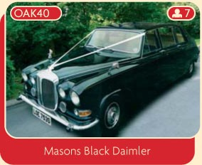 Masons black Daimler wedding car for hire.
