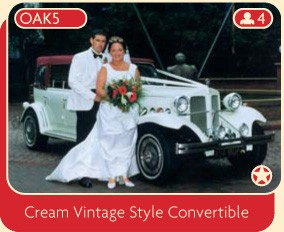 Cream vintage style convertible wedding car for rental, Manchester.