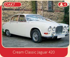 Classic wedding car – hire this beautiful cream classic jaguar 420.
