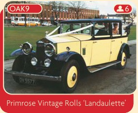 Primrose Vintage Rolls Landaulette wedding car from Broadoak, Manchester.