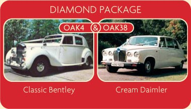 Classic Bentley and Cream Daimler for your wedding car rental.