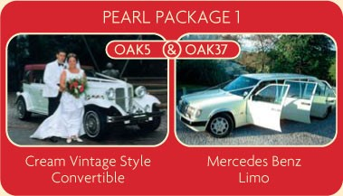 Cream vintage style convertible and Mercedes Benz Limo available for your wedding car rental.