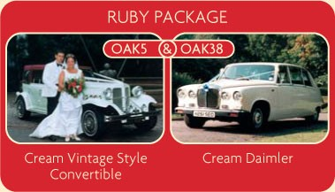 Wedding car rental package: hire this cream vintage style convertible and cream Daimler for your wedding day.